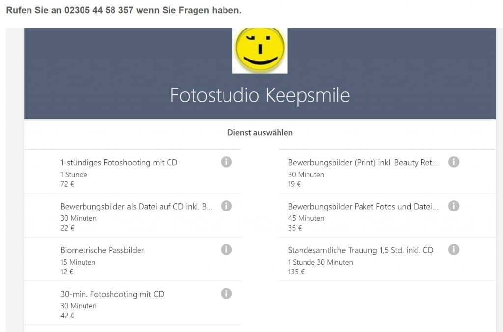 Fotostudo Keepsmile nutzt Microsoft Bookings (Bestandteil von Office 365) für die online Terminbuchung durch Kunden