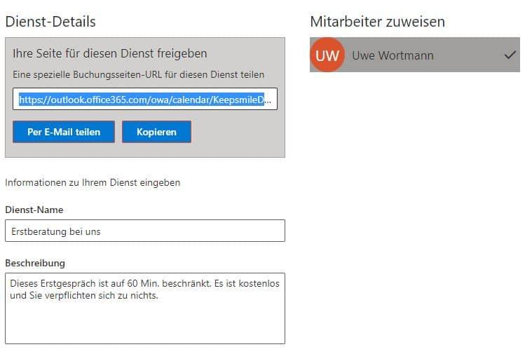 Anzeige nur ein DienstOnline-Terminbuchung mit Microsoft Bookings eingerichtet durch Keepsmile Design, Castrop-Rauxel (Ruhrgebiet)