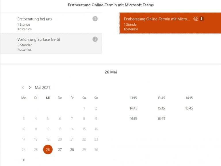 Dienst- und Terminauswahl - Online-Terminbuchung mit Microsoft Bookings eingerichtet durch Keepsmile Design, Castrop-Rauxel (Ruhrgebiet)