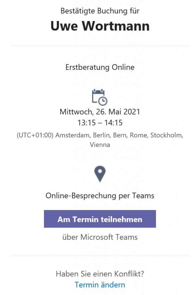 Bestätigungs-E-Mail - Online-Terminbuchung mit Microsoft Bookings eingerichtet durch Keepsmile Design, Castrop-Rauxel (Ruhrgebiet)