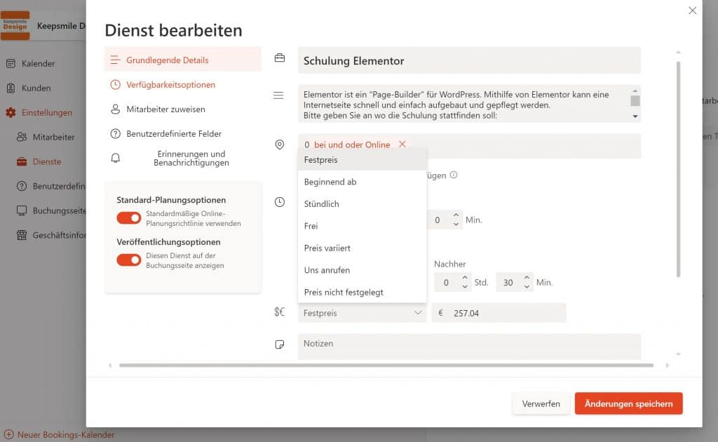 Microsoft Bookings - kostenpflichtige Leistungen - Beratung bei Keepsmile Design, Castrop-Rauxel