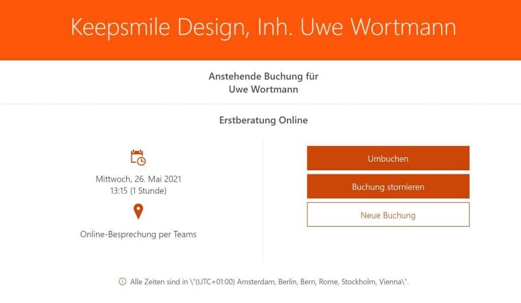 Bildschirmanzeige gebuchter Termin - Online-Terminbuchung mit Microsoft Bookings eingerichtet durch Keepsmile Design, Castrop-Rauxel (Ruhrgebiet)