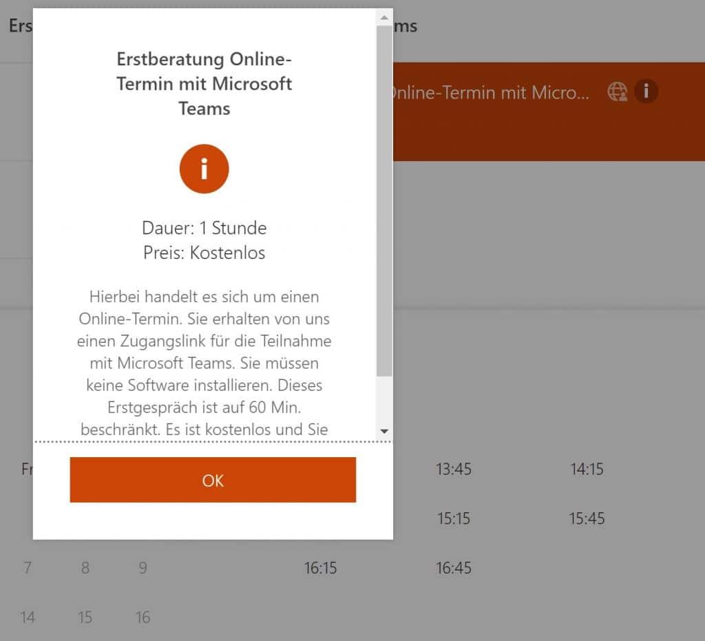 Details zum Dienst - Online-Terminbuchung mit Microsoft Bookings eingerichtet durch Keepsmile Design, Castrop-Rauxel (Ruhrgebiet)