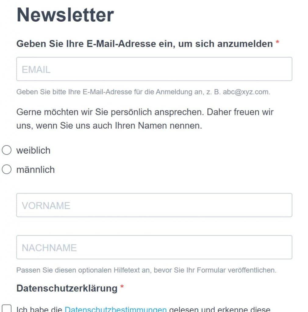Anmeldeformular für unseren E-Mail-Newsletter