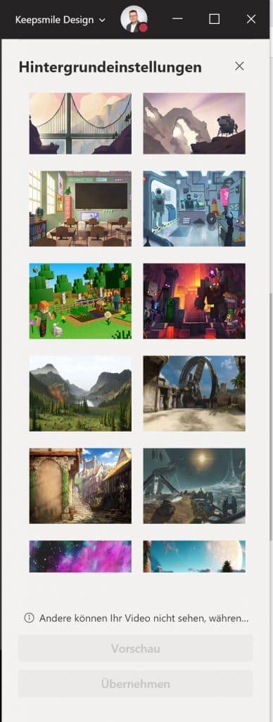 Die Auswahl von Hintergrundeffekten in Microsoft Teams