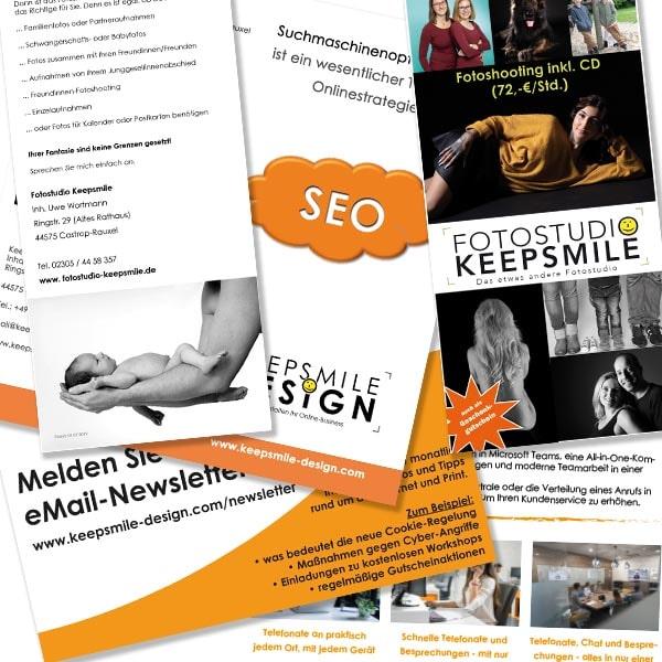 Flyer und Broschüren gestaltet von Keepsmile Design, Castrop-Rauxel
