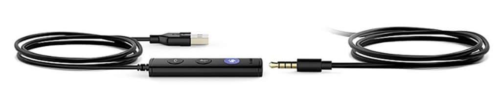 USB- und Klinkenstecker Kabelverbindung vom Headset UH36