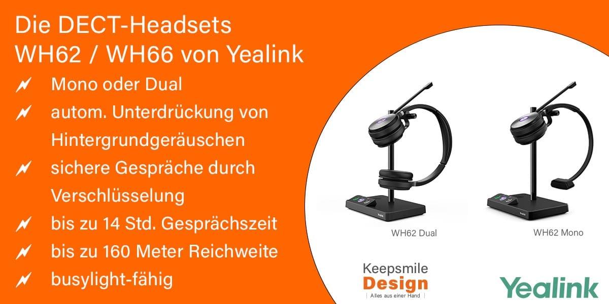 DECT-Headset WH62 Mono/Dual von Yealink - Beratung und Verkauf bei Keepsmile Design