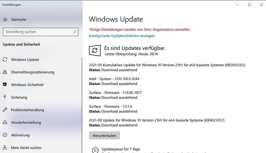 Liste über Microsoft-Updates die eingespielt werden können.