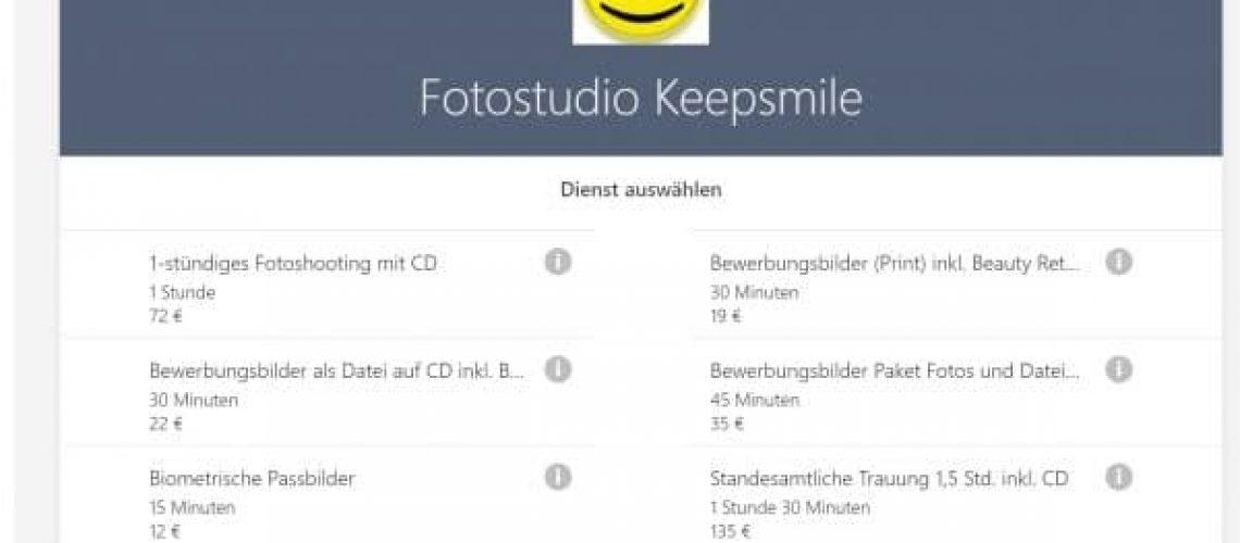 Fotostudo Keepsmile nutzt Microsoft Bookings für die online Terminbuchung durch Kunden